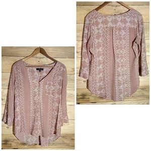 Mauve Boho Blouse with Geometric Print